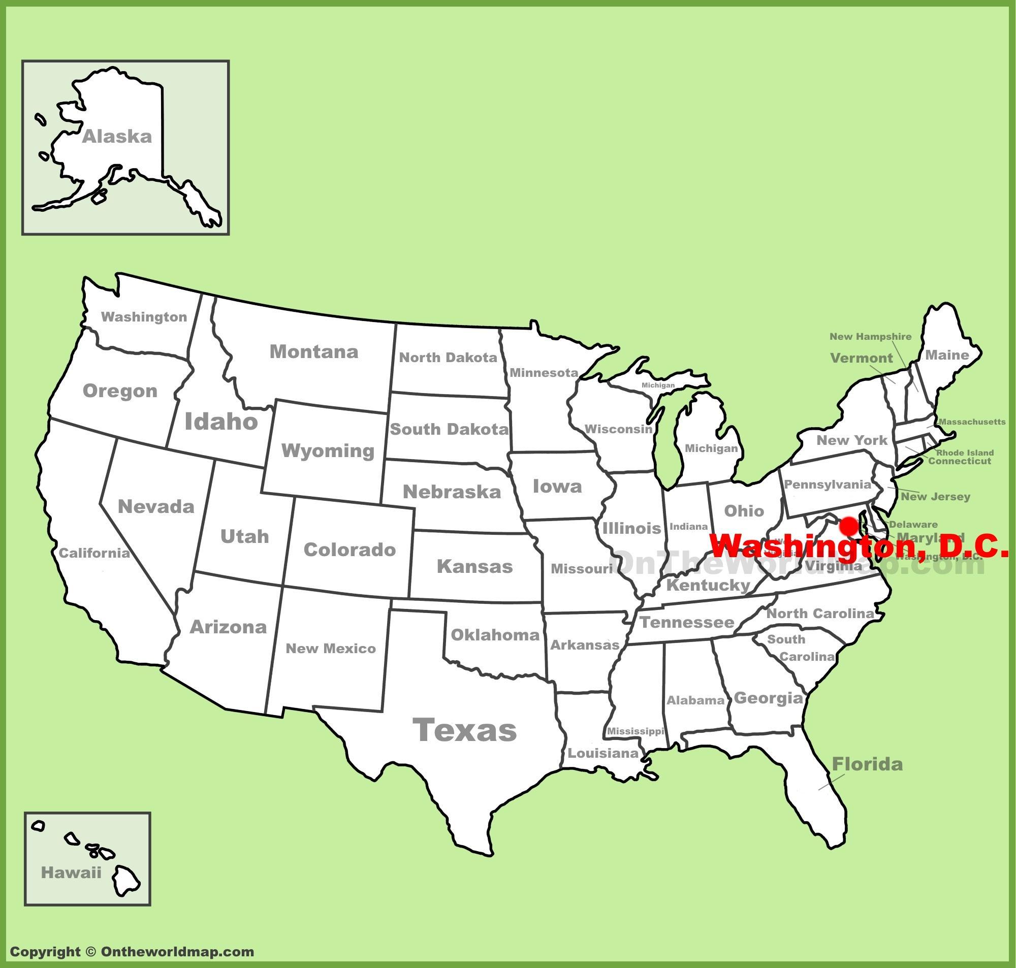Yhdysvallat Kartta Dc Washington Dc Sijaitsee Yhdysvaltojen