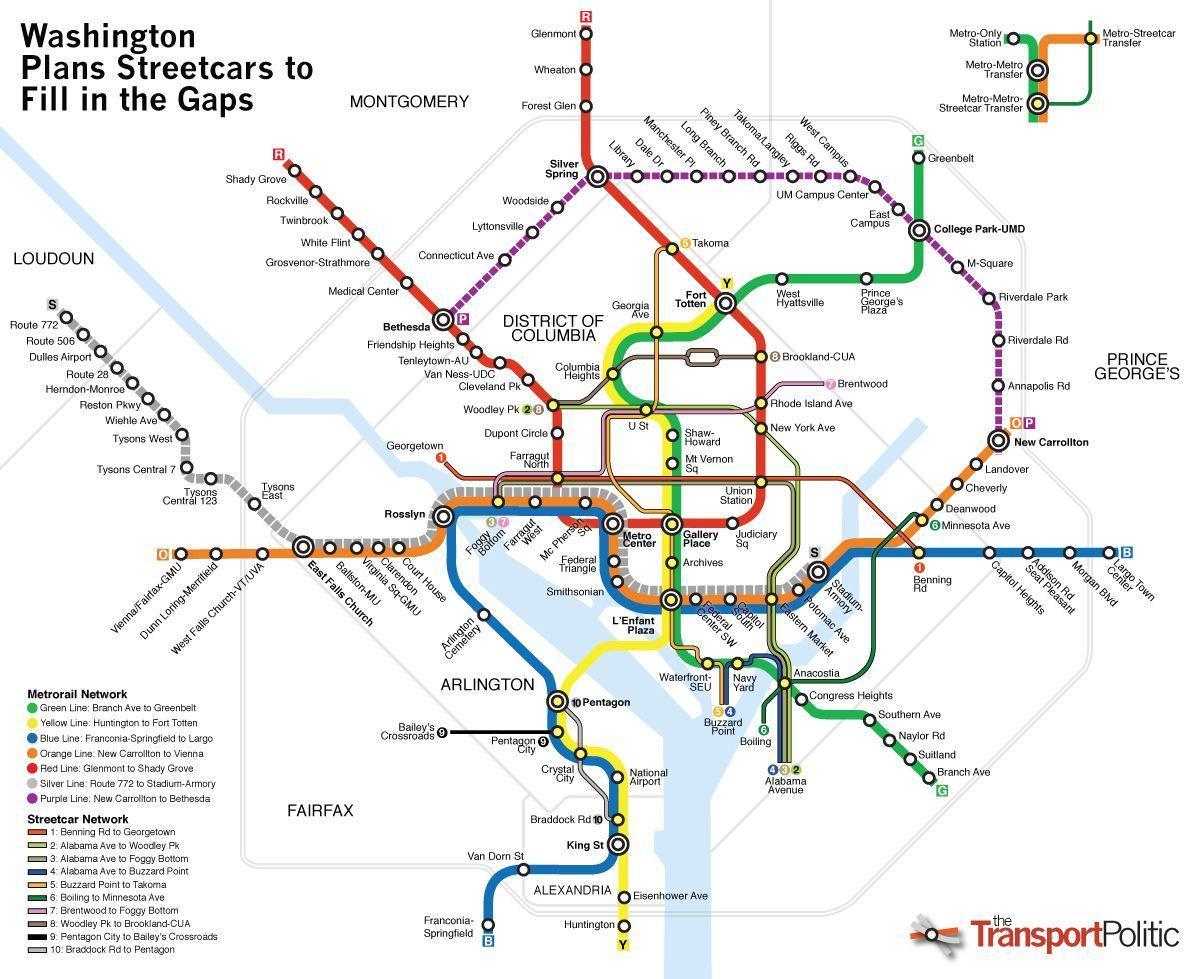 Washington Dc Julkisen Liikenteen Kartta Washington Julkisen